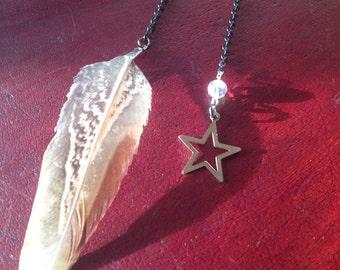 StarstruckEarrings feather and star set with rainbow sparkle bead