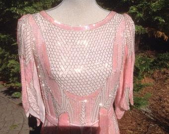 Pink Silk Beaded 1920's look Art Deco Jazz Age Flapper, Great Gatsby Dress, Formal Dress