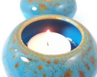 Tea Lights x 2 in Turquoise Mottle Glaze