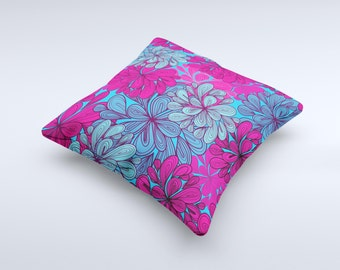 The Vibrant Colorful Floral Sprouts ink-Fuzed Decorative Throw Pillow