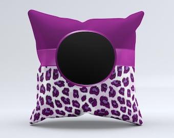 Purple Leopard Monogram ink-Fuzed Decorative Throw Pillow