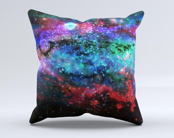 The Neon Colored Paint Universe ink-Fuzed Decorative Throw Pillow