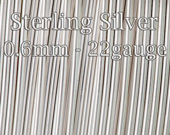 50Feet (15mt) 925 Sterling Silver Wire Bulk - Half Hard 22gauge 0.6mm - solid silver round wire - 20%Discount price quantity silver wire