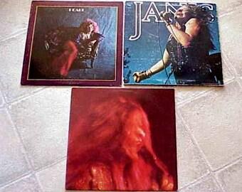 3 Vintage Janis Joplin LP Record Albums Janis Mono-Pearl-I got Dem Ol' Kozmic Blues again Momma