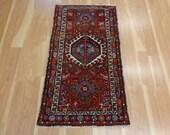 Red Persian Rug Vintage Wool Oriental Rug 2' 2 x 3' 11 Karaja