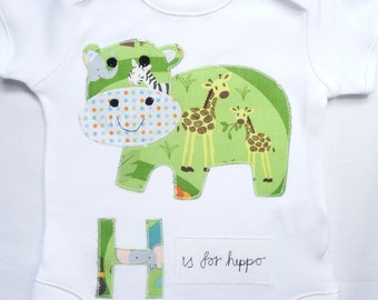 Personalised hippo bodysuit, personalised hippo onesie, appliqued hippo onesie, appliqued hippo bodysuit, new baby gift, baby shower gift