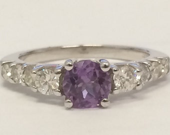 14k White Gold Diamond and Amethyst Ring GORGEOUS!