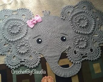 Elephant rug, crochet rug, nursery decor.