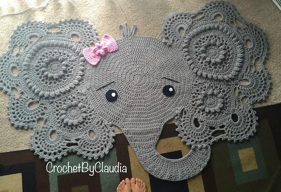 Free Crochet Elephant Rug Pattern : Elephant rug crochet rug nursery decor.