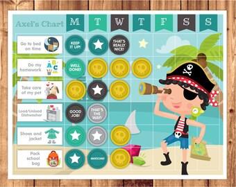 Chore chart / reward chart / printable / Instant download PDF file / Pirate theme / Pirate Reward Chart / Pirate Chore Chart