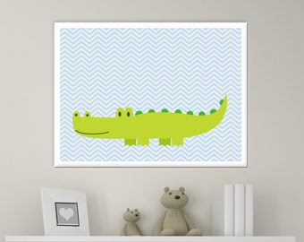 Nursery Baby Boy Crocodile Wall Art Print, Aligator Wall Art Print, Baby Boy Nursery Wall Decor Print -Custom Color - N390- Unframed