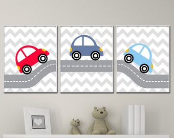 Baby Boy Nursery Wall Art Print, Car Nursery Art Prints, Suits Red And Blue Nursery Decor- P180,182,181