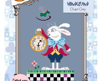 Brooke's Books Wonderland White Rabbit Cross Stitch Chart-Only (Instant Download)