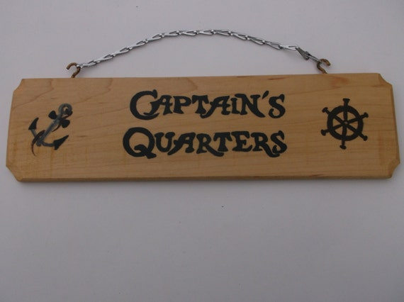 Captain 39 s quarters beach wedding sign nautical decor for Decor quarters