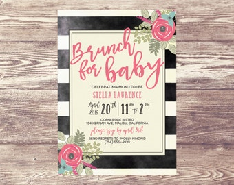 Brunch for Baby Shower Invitation, Floral Baby Shower Invite, Baby Sprinkle, Birth Announcement, Couples Baby Shower Invitation, Sip and See