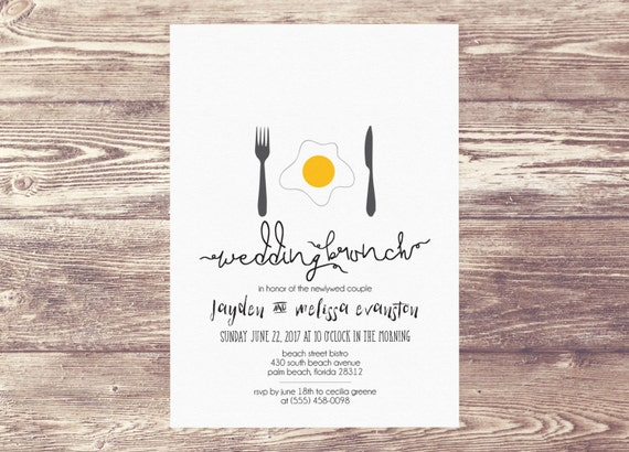 Printed wedding brunch invitation newlywed brunch brunch for Wedding brunch invitations