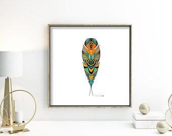 Tribal drawing ink illustration hand drawn feather bright color decor orange and teal wall decor turquoise art black and white 5 x 7 print