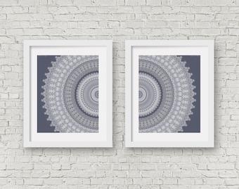 monochrome print set of 2 posters white mandala art dark grey office decor decorative art loft - Loftwall