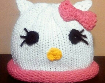 Newborn Crochet Hello Kitty Hat Baby Girl Cat Hat Hello Kitty Prop Newborn Hello Kitty Hat Newborn photo Prop