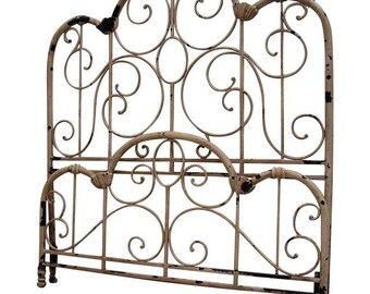 Distressed Wrought Iron Queen Bed