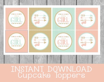"INSTANT DOWNLOAD \ Adventure  \ Girl Baby Shower \ Cupcake Toppers \ favor tags \ 2"" \\  arrows \\ boho \\ mint  \\ pink \\ coral"