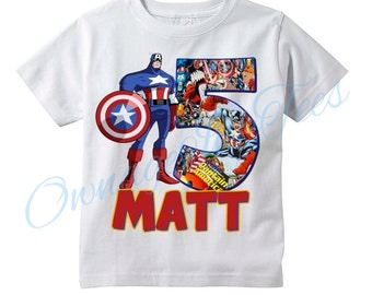 Captain America Custom T-Shirt, PERSONALIZE with Name and AGE, Perfect Birthday Gift!