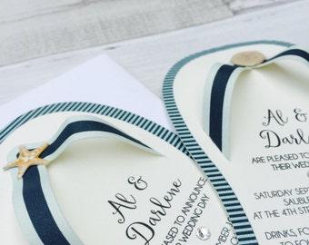 beach wedding invitations, flip flop invites, wedding invitations, summer wedding invites - set of 20 invitations