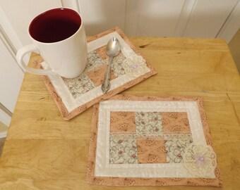 Mug Rugs, Shabby Chic mug rugs (set of 2)