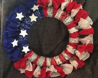 Bandana American Flag Wreath