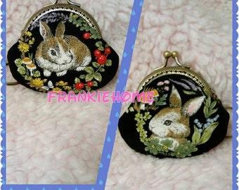 Handmade Rabbit Print Blue Coin Purse Coins Bag Small Pouch (6.5cm)
