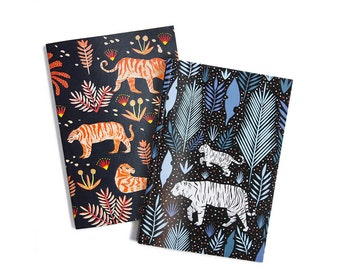 Tigers - Set of Two Lined // Plain A6 Notebooks