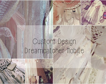 Custom Design Dreamcatcher Mobile -  Bohemian Hippie Decor - Feathers Mobile - Boho Nursery Decor - Gypsy Baby Crib Mobile - Newborn Gift
