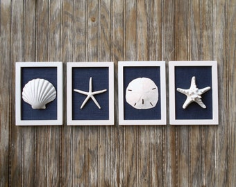 Cottage Chic Set of Beach Decor, Wall Art, Nautical Decor, Coastal Decor, Beach Wall Art, Beach, Coastal Art, Pure White & Navy Blue Burlap