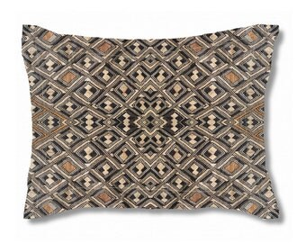 Exclusive Kuba Cloth Design #2 / Standard Size Pillow Sham 30x20 / Soft Brushed Polyester Fabric / Stylish Unique African Art Pattern