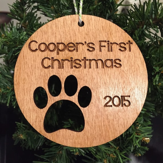 Personalized Dog Wood Christmas Ornament