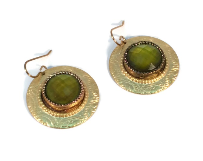 Petite Rosemal Olive Green Faceted Brass Drop Earrings, Nickle Free Ear Wires Hypo Allergenic