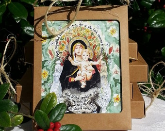 Catholic All Occasion Cards with Our Lady of the Lilies, Miraculous Medal, St Catherine Laboure, Madonna and Child, set of 8 A2 notecards
