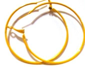 2.25 inch Hoop Earrings Yellow Hoop Earrings Classic Thin Hoop Earrings