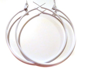 2.25 inch Hoop Earrings White Hoop Earrings Classic Thin Hoop Earrings