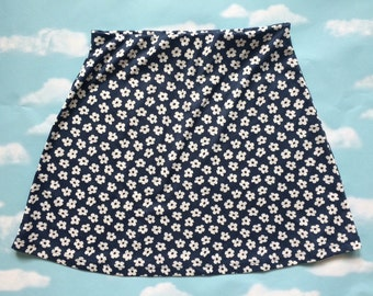 90's vintage blue mini skirt with white floral pattern