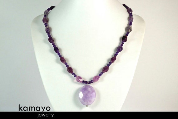 LAVENDER AMETHYST NECKLACE - Large Natural Amethyst Pendant and Genuine Amethyst Beads - 18.5 Inches