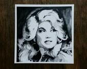 """Dolly Parton Mini Print - 4×4"""" Black and White Watercolor"""
