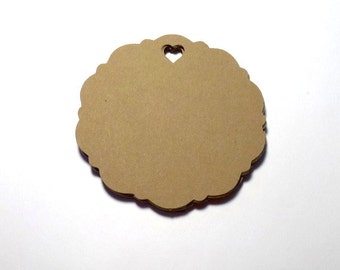 50 Kraft Die Cut Scalloped Circles with heart punch