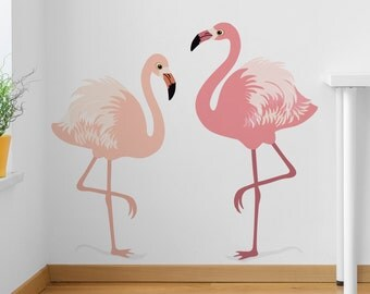 Wall Sticker Set of two Flamingos - Decals - Wall Tattoo - Wall Art - Wall - Home Decor - Wall Decor - Wall Decals - Flamingos - Birds