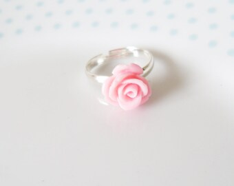 Cute Pink Resin Carved Rose Floral Adjustable Ring, Flower, Kawaii, Kitsch, Summer, Pastel