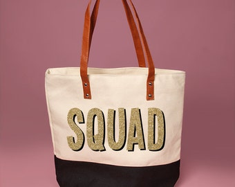Custom Olive and Cream SQUAD Tote Bag