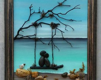 "Unique pebble art, handmade pebble art, custom pebble art, pebble art couple, couple on a swing by the ocean, ""open"" 8.5x11 (FREE SHIPPING)"