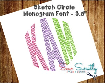 Stencil Sketch Circle Monogram Embroidery Font - 3.5 inch