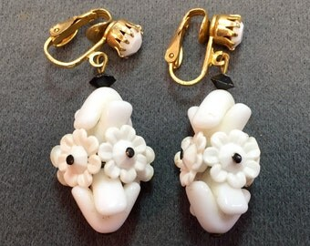 Unusual White Beaded Flower Vintage Clip Earrings.  Free shipping
