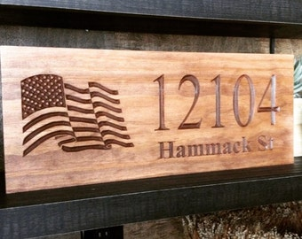 American Flag, Wooden Carved Sign, Made In The USA, Home Address Sign, Outdoor Signs, Army, Navy, Marines, American Soldiers Gifts,